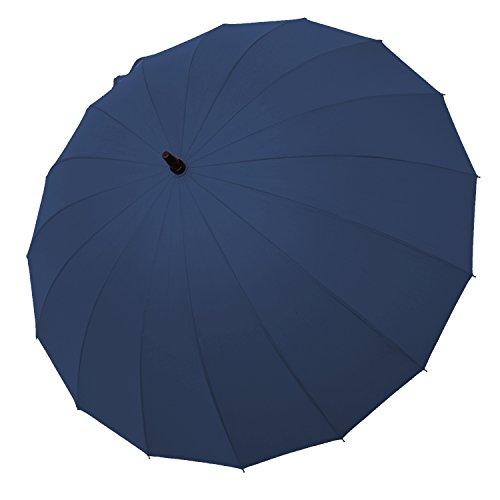 Saiveina Paraguas Caballero Grande Clásico antiviento, 16 Varillas, Teflón T190, mango de espuma, muy fuerte-Azul oscuro