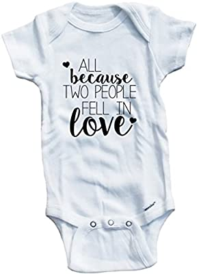 Baby Tee Time Girls' All Because Two People Fell in Love 0-3 Months White