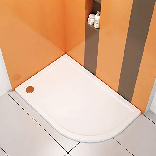 Right Handed Offset 900 x 760mm Quadrant Pearlstone Shower Tray -Height 40mm + Free Waste