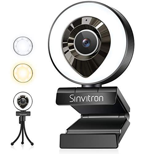 ull HD Webcams mit Ringlicht, 1080P USB Webcam mit Mikrofon, Stativ Facecam Live Streaming, 360° Schwenkradius, USB Kamera für PC, Mac, Laptop, Video Chat Aufnahme, Zoom, Skype (weißes/warmes Licht) …