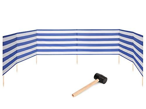 Garronda Strand Windschutz Sichtschutz 8m lang Plus Gummihammer GAEX001 (Streifen, 8 m)