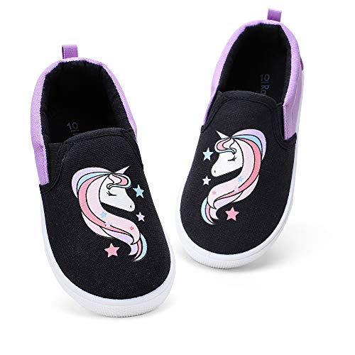 RANLY & SMILY Girls Shoes for Toddler, Kids Slip On Sneakers Canvas Walking Shoes Black/Pink Unicorn 13 M US Little Kid
