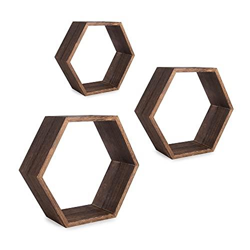 Estantes flotantes hexagonales - Juego de 3 | Estantes decorativos de pared en forma de panal | Estantería madera | Estante Geométrico | M&W (madera)