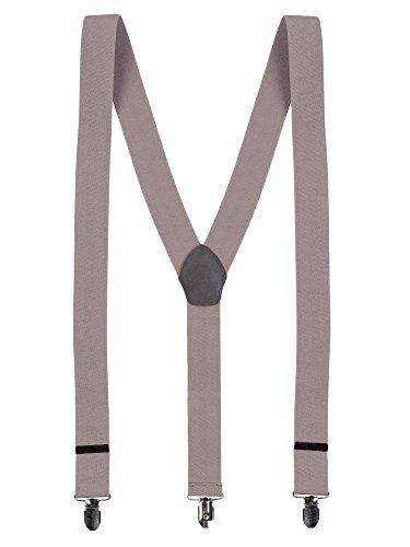 WANYING Herren Hosenträger Y-Form 3 Stabile Clips 3,5cm Breit Hochelastisch Längenverstellbar Basic Business Casual - Einfarbig Hellbraun