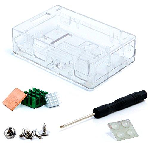 Aukru transparent Gehäuse/Case für Raspberry Pi 3 2016 und Pi 2 Model B/Model B+ Mit 3 Set Kühlkörper