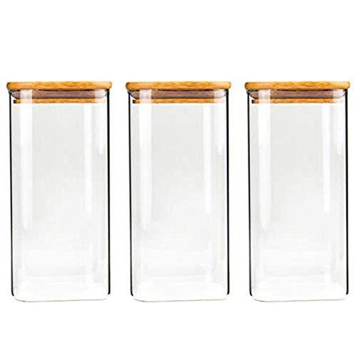 1300ml Quadratische Vorratsgläser - 3er Stapelbare Vorratsdosen Set – Vorratsbehälter aus Borosilikatglas -Glasbehälter Gewürzgläser mit Bambusdeckel –Ideal für Spaghetti, Gewürze, Süßigkeiten