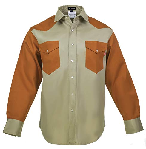 Flame Resistant FR Shirt - 88/12 - Western Style - Two Tone (2X-Large, Khaki/Rust)