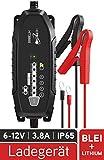 HEITECH Cargador HT3800 Totalmente automático - Cargador para baterías de Plomo de 6-12V y 12,8V de Litio, Probado por TÜV y GS, a Prueba de Salpicaduras IP65 - Cargador de Mantenimiento