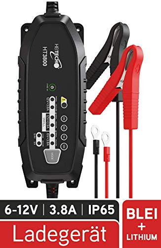 HEITECH KFZ Batterieladegerät 1,2Ah bis 120Ah Batterie - Erhaltungsladegerät für Autobatterie Auto Wohnmobil Motorrad Traktor & Motorboot - Ladegerät für 6V & 12V Blei sowie 12,8V Lithium