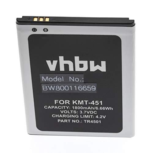 vhbw Li-Ion Akku 1800mAh (3.7V) passend für Handy Smartphone Telefon Kazam Trooper 451, Trooper 451 Dual SIM