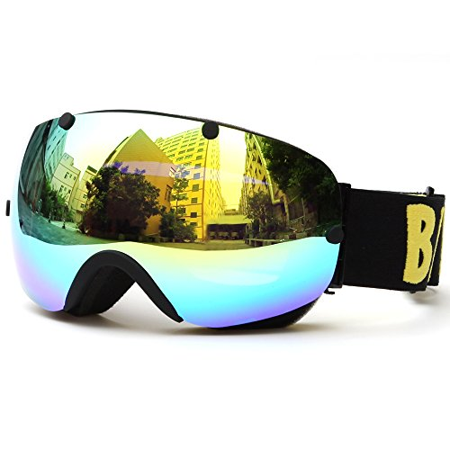 Lixada Masque de ski d'hiver avec protection UV400 - Double lentille - Sphérique - Anti-buée - Masque de ski - Skating - Sport - Interchangeable - Noir - 7,0 × 3,7'