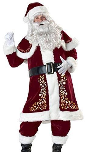 MARRYME Déguisement de Père Noël Homme Adulte 9 pièces Costume Déguisement Complet Noël Rouge Cosplay Fête (Rouge, L)