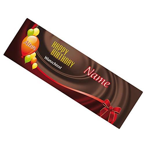 Herz & Heim® riesige Schokolade zum Geburtstag mit Wunsch- Alter, Name und Text 300g