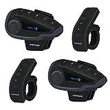 VNETPHONE V8 Casco de Motocicleta Sistema de Comunicación de Intercomunicador Bluetooth con Control Remoto Mango Radio FM NFC para 5 Rider Talk al Mismo Tiempo Dentro de 1200M (2 Paquete)