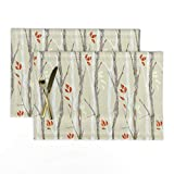 Roostery Cloth Placemats, Tree Branch Grey Wood Grain Texture Snow Scene Nature Out Natural Winter White Re Orange Red Woodland Birch Beech Wood Print, Linen-Cotton Canvas Placemats, Set of 2