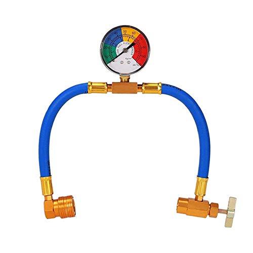 Iinger R134A CA AC Carga Carga DE FRIGERANTE Kit de mangueras de Recarga con manómetro, A/C 1/2 Kit de medición de Recarga Puede Tocar Aire Acondicionado Pressu (Color Name : Blue)