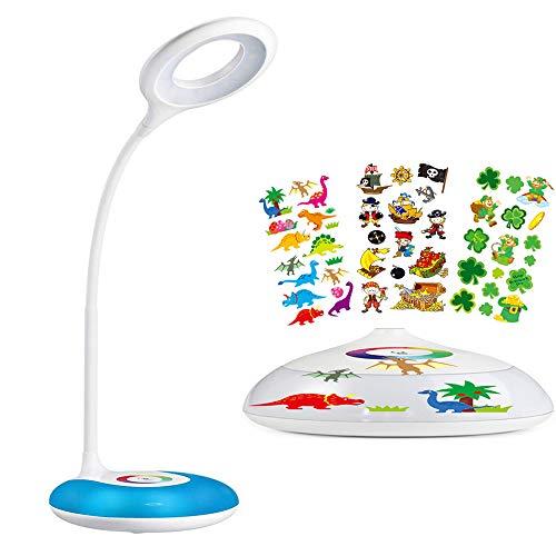 Lampe de bureau enfant, hihigou lampe pour bureau,LED Lampe de Chevet Dimmable,Veilleuse Ambiante,Niveaux de Luminosité Réglable,Couleurs Changeables base,USB Rechargeable