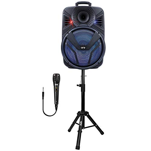 """QFX PBX-615SM 15"""" Bluetooth Rechargeable Speaker with LED Lights, Microphone and Stand (2021 Model)"""