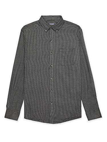 Van Heusen Men's Big & Tall Big Flex Long Sleeve Stretch Button Down Shirt, Black Solid, 2X-Large Tall