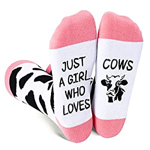 ZMART Funny Cow Gifts for Women Novelty Cow Socks Women Girls in Pink, Cow Gifts for Cow Lovers