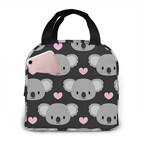 shenguang Cute Koalas and Pink Hearts Lunch Bags for Women Portable Insulated,Thermal Cooler Bag Adult Lunch Tote Lunch Boxes,Reusable Meal Prep Containers Bag Sturdy for Work Picnic College Travel