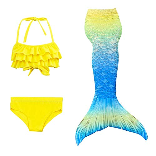 XDH Bikini Ajustable para Nadar Cola De Sirena para Natación Traje De Baño, Traje De Bano Sirena con Aletas,3pcs Mermaid Bikini Establece para, Niña Disfraz De Sirena, Princesa Cosplay Conjuntos