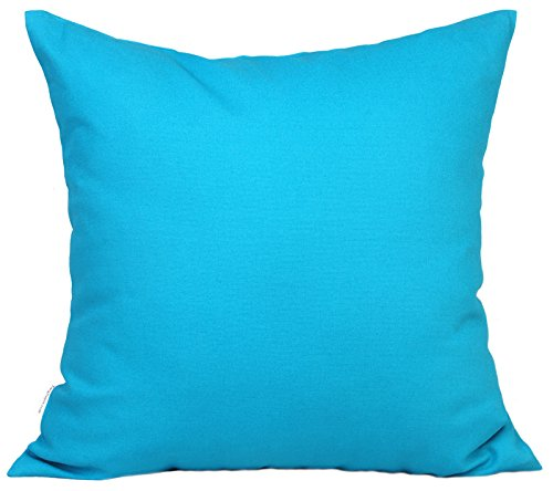 TangDepot Set of 2 Handmade Decorative Solid 100% Cotton Canvas Throw Pillow Covers/Cushion Covers, 45 Colors Available - (18'x18' 2 Pieces, Blue Ashes)