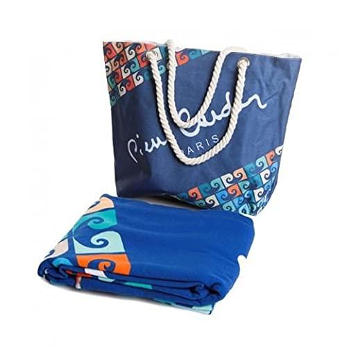 SomProduct Paul Pierre Cardin - Juego de bolsa de playa y toalla (100 x 180 cm), multicolor