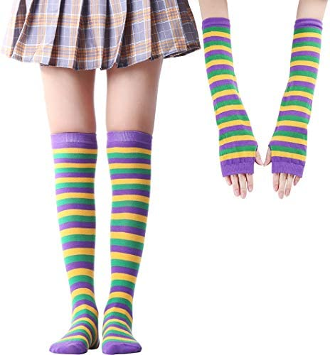 Over Knee Long Sock Striped Thigh High Socks Girls Long Knitting Socks Cute Cosplay Costume product image