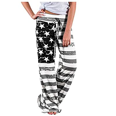 Womens Wide Leg Palazzo Pants Vintage Independence Day Print Trousers Stars Red and White Stripes Color Block 4th of July Patriotic Loose Yoga Jogging Pant with Drawstring
