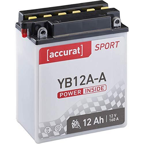 Accurat Motorrad-Batterie YB12A-A 12Ah 160A 12V Standard-Nassbatterie inkl. Säurepack WET Starterbatterie in Erstausrüsterqualität leistungsstark