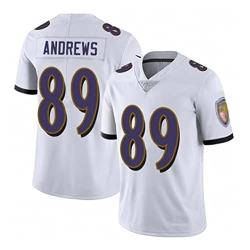 LKJHGFD Andrews 89# Jersey di Football Americano, Jersey di Rugby # 89 Andrews, T-Shirt Manica Corta T-Shirt Sportiva White-S