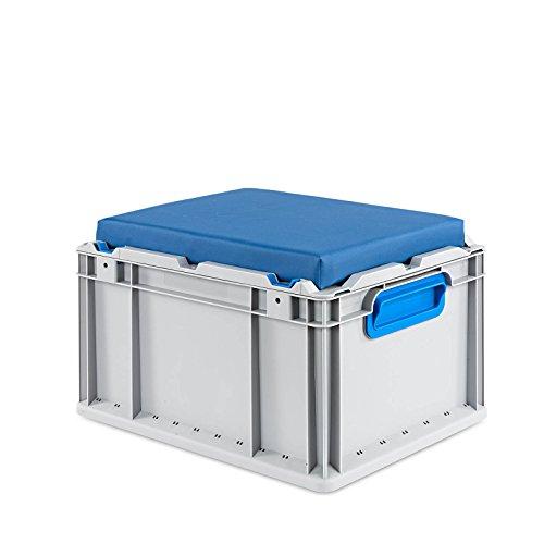 aidB Eurobox NextGen Seat Box, blau, (400x300x265 mm), Griffe geschlossen, Sitzbox mit Stauraum und abnehmbarem Kissen, 1St.