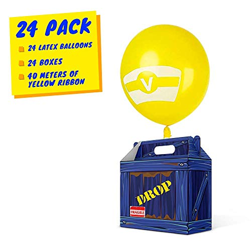 Birthday Party Supplies, Party Favor Boxes, Gaming Box, Supply Drop Box, Goodie Bags, Video Game Box Party Supplies, Battle Royale Boy Party Supplies, Game Party Supplies (24 Pack NEW Design Latex)