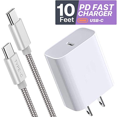 Boxgear 10ft USB C Charger - 18W PD Fast Wall Charger for ipad Pro/Note 10/ 10+/ Galaxy S20/ Google Pixel 4/ 4LX/ LG V60 - PD Fast Charging 10 Ft Braided Cord - Phone Charger for Apple Devices