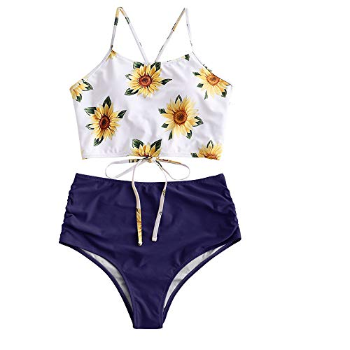 ZAFUL Women's Leaf Print Lace Up Ruched High Waisted Tankini Set Swimsuit (Blue, XL)