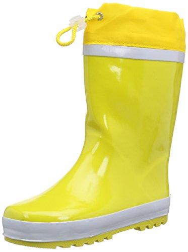 Playshoes Kinder Gummistiefel aus Naturkautschuk, warme Unisex Regenstiefel mit Innenfutter, Gelb (gelb 12), 24/25 EU