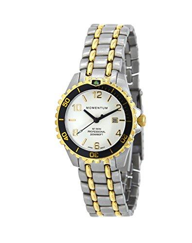 Momentum Damen-Armbanduhr, Quarzuhrwerk, Mini-Saphir, Edelstahl, Taucheruhr mit japanischem Analog-Uhrwerk, wasserabweisend, 200 m, 1M-DV09WSB0