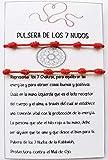 Pulsera 7 Nudos Roja - Hilo Rojo - Protección Mal de Ojo y Buena Suerte - Unisex, para Mujer y Hombre - Kabbalah - para Parejas