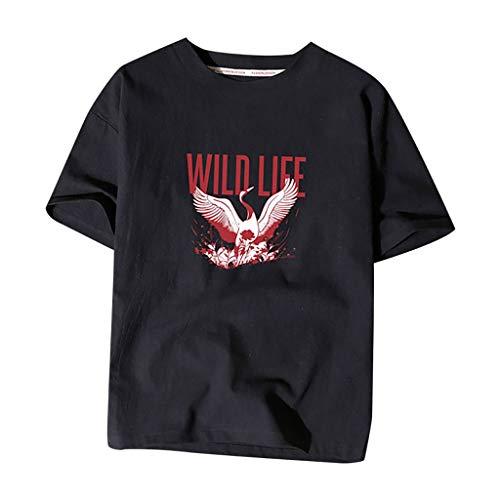 Yowablo Tee Shirt Manches Courtes T-Shirts pour Homme Impression de Hauts de Vrac en Lin de Coton de Couleur Pure (5XL,4Noir)