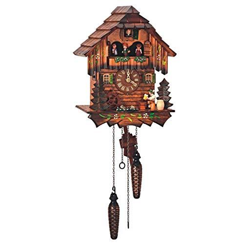 SELVA Reloj de cuco de St. Peter tradicional de la Selva Negra, fabricado en Alemania, carcasa de madera maciza de nogal, pintado a mano, atemporal, elegante (altura: 32 cm) – C336401