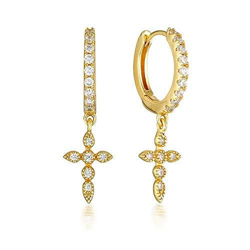 Pendientes Mujer Pendientes De Aro De Plata De Ley 925 para Mujer, Cristal De Circonita Simple, Color Dorado Y Plateado, Joyería De Moda-Gold_1