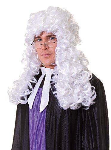 Hommes Juge Budget Blanc Accessoire Perruque pour Cour Loi Régence Perruque Déguisement