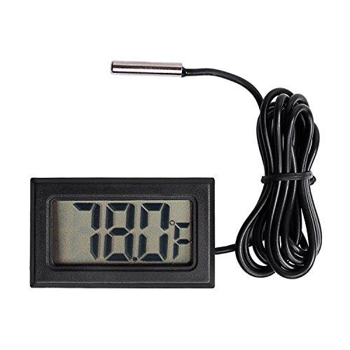 Qooltek Digital LCD Thermometer Temperature Gauge Aquarium Thermometer with Probe for Vehicle Reptile Terrarium Fish Tank Refrigerator(Fahrenheit)