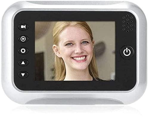Xyfw Timbre con Video Inalámbrico, Timbre Digital con Pantalla TFT LCD De 3.5', Visor De Mirilla En La Puerta De La Cámara De Seguridad, Gran Angular con Visión Nocturna De 170 °, Grabación De Video