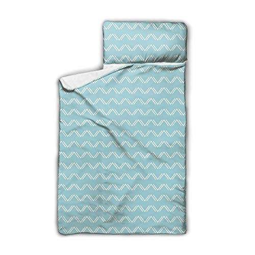 SfeatrutMAT Up and Down Zigzags in Horizontal Direction Minimalist Trend Stylized Design,Everyday Nap Mat with Blanket and Pillow,Light Blue White,50'x20',Soft,Lightweight,Toddler,from 3-7 Years