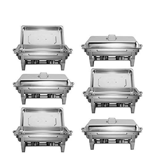 Z ZELUS Scaldavivande in Acciaio Inox 6 Pezzi Contenitore Vassoio di Riscaldamento 9L Pentole di Riscaldamento Chafing Dish per Buffet di Catering e Feste