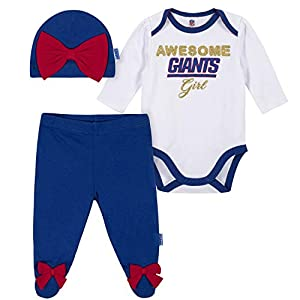 NFL New York Giants Girls BODYSUIT FOOTED PANT AND CAP, Team Color, 3-6M