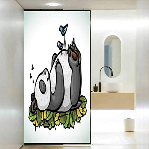 Stained Glass Window Film, Funny Sleeping Panda Bear and Birds on Her, Static Cling Decor Window Sticker for Home and Offic W23.6 x L78.7 Inch
