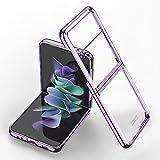 für Samsung Galaxy Z Flip 3 5G Transparente Hülle Überzug Rahmen Kristallklare PC Stoßfeste Schutzhülle (Lila)